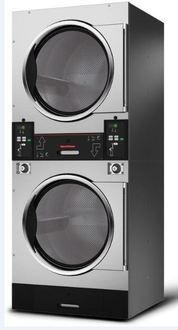 séchoir double inox à évacuation speed queen SUT30 pour les laveries libre-service avec version chauffage gaz ou électrique